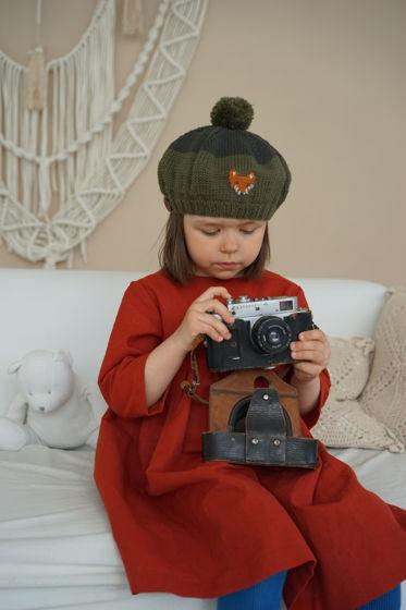 """Детский зеленый берет """"Лисичка"""""""