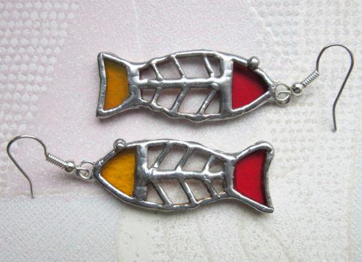 Серьги витражные стеклянные Рыбы прозрачные