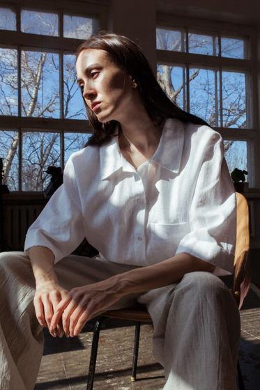 Рубашка женская льняная оверсайз белая