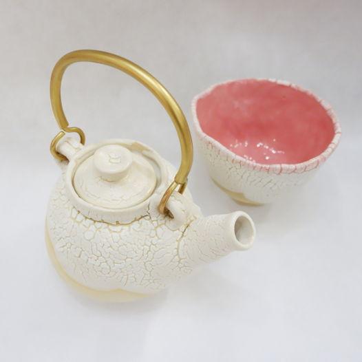 """Керамический чайник и пиала """"Доброе утро""""."""