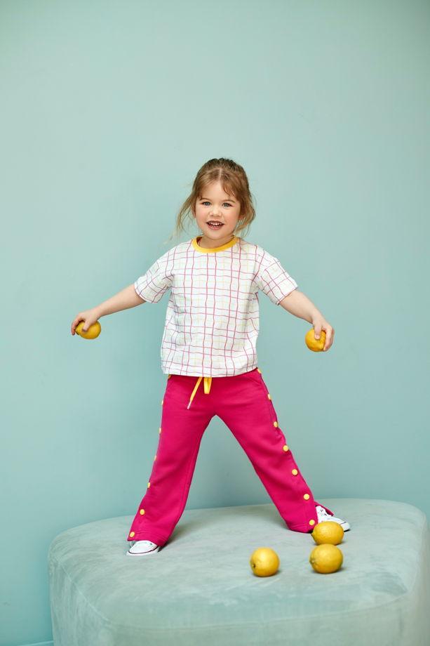 Трикотажная футболка в розовую клетку для девочек Seine