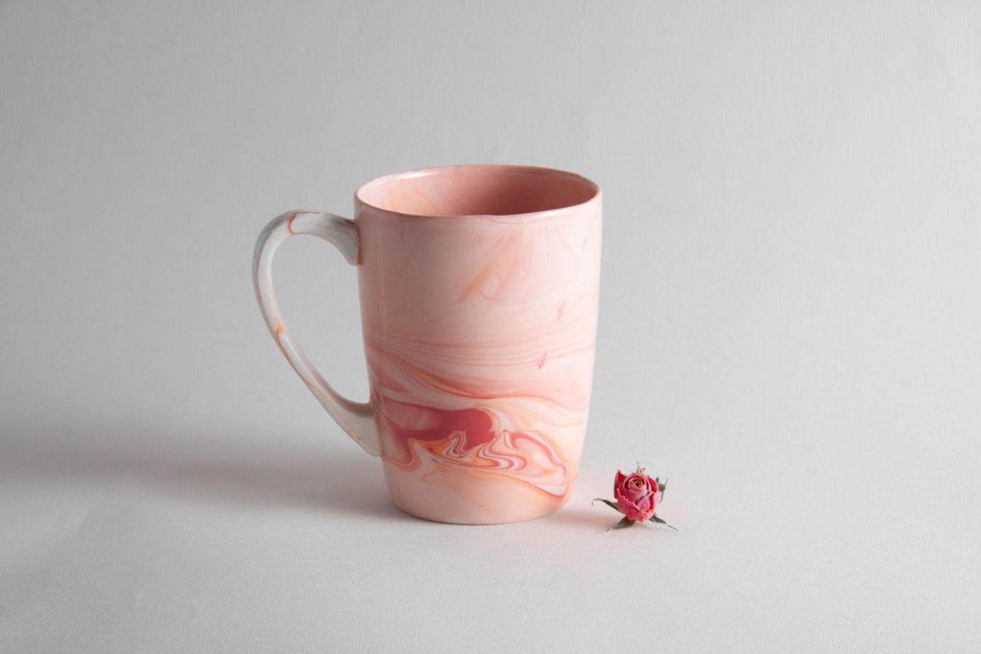 """Фарфоровая кружка ручной работы """"Фламинго"""""""
