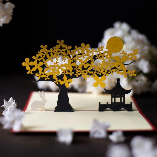 Пейзаж в китайском стиле 3D открытка ручной работы
