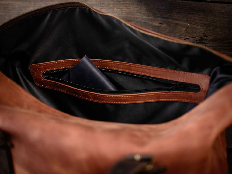 Сумка дорожная -DANDY- из натуральной кожи цвет Коньяк