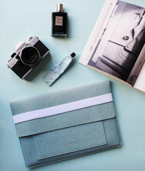 Чехол из фетра для MacBook и ноутбуков, голубой, горизонтальный с крышкой