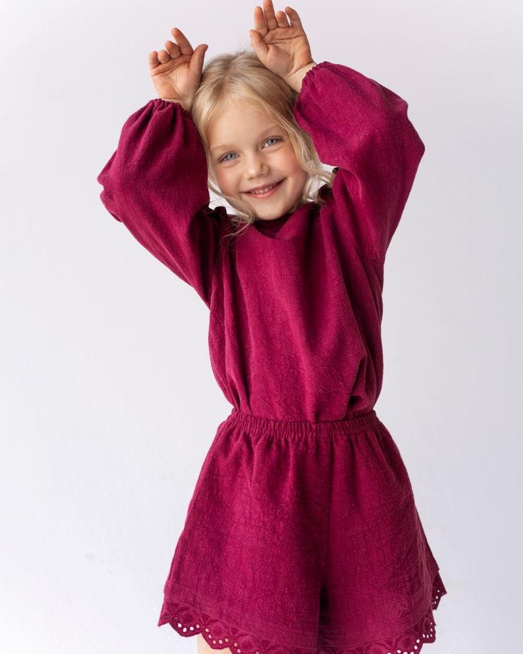 Блуза из крапивы с крылышками цвета бордо JOY BORDEAUX