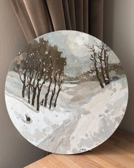 Круглая картина акрилом «Кофейная зима»