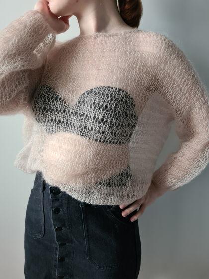Розовый свитер из мохера и шелка JANE