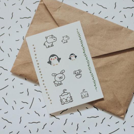 """Временные переводные татуировки MimiToo """"Пингвины"""" для детей и взрослых"""