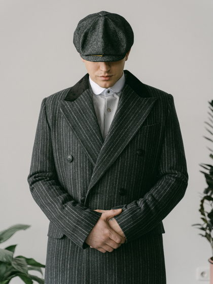 Мужское пальто Шелби 2 (темно-серое в полоску)