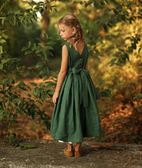Детский сарафан с открытой спинкой МАЛАХИТ