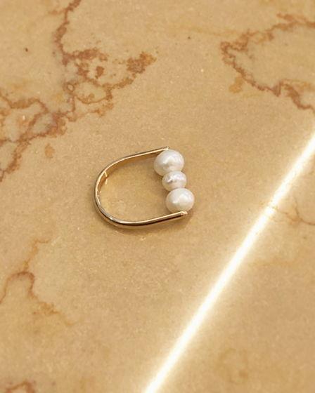 Золотое кольцо жемчугом Hanami Dango Golg