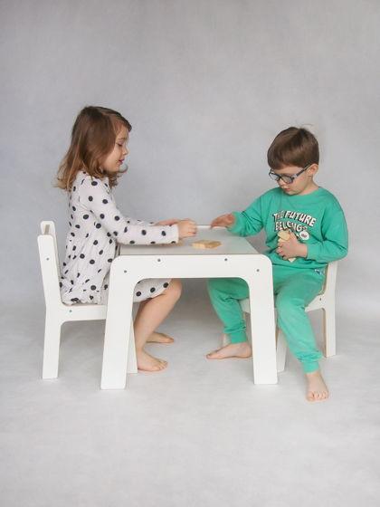 Комплект белой детской мебели стол и два стула Киддис