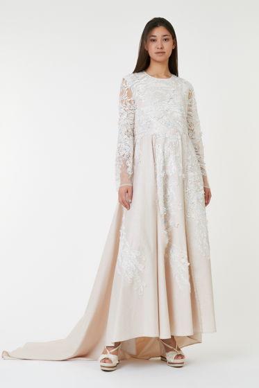 Свадебное дизайнерское платье из итальянского льна и кружева ручной работы