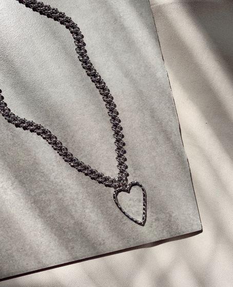 Цепочка на шею с интересным плетением и массивным кулоном «Сердце»