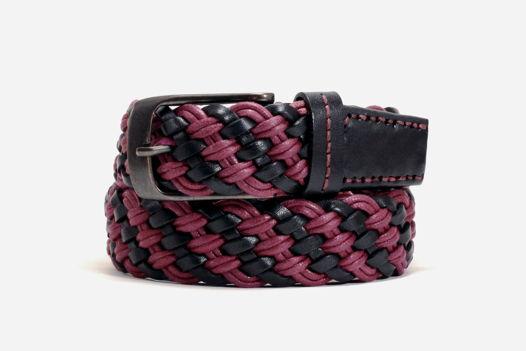 Черно-бордовый комбинированный плетеный ремень