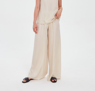 Широкие брюки из тенселя на резинке сливочные
