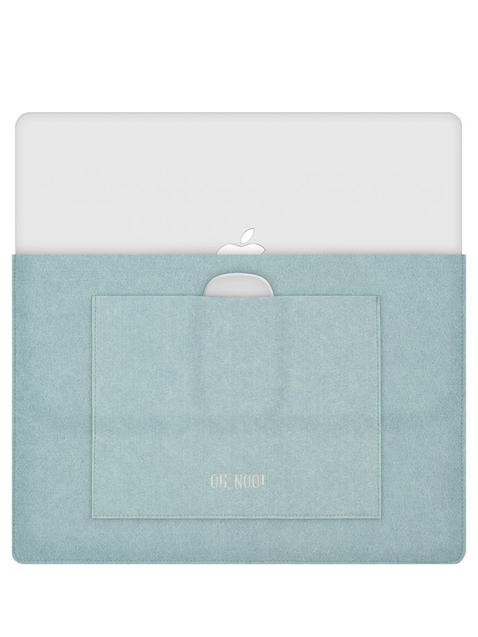 Чехол из фетра для MacBook и ноутбуков, голубой, горизонтальный