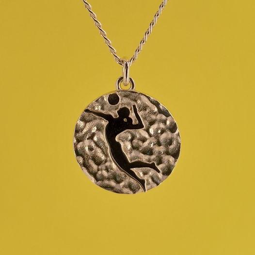 Серебряная подвеска Медаль для волейболистки