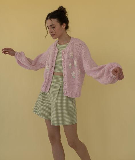 """Розовый кардиган из хлопка с цветочной вышивкой """"Inspiration"""""""