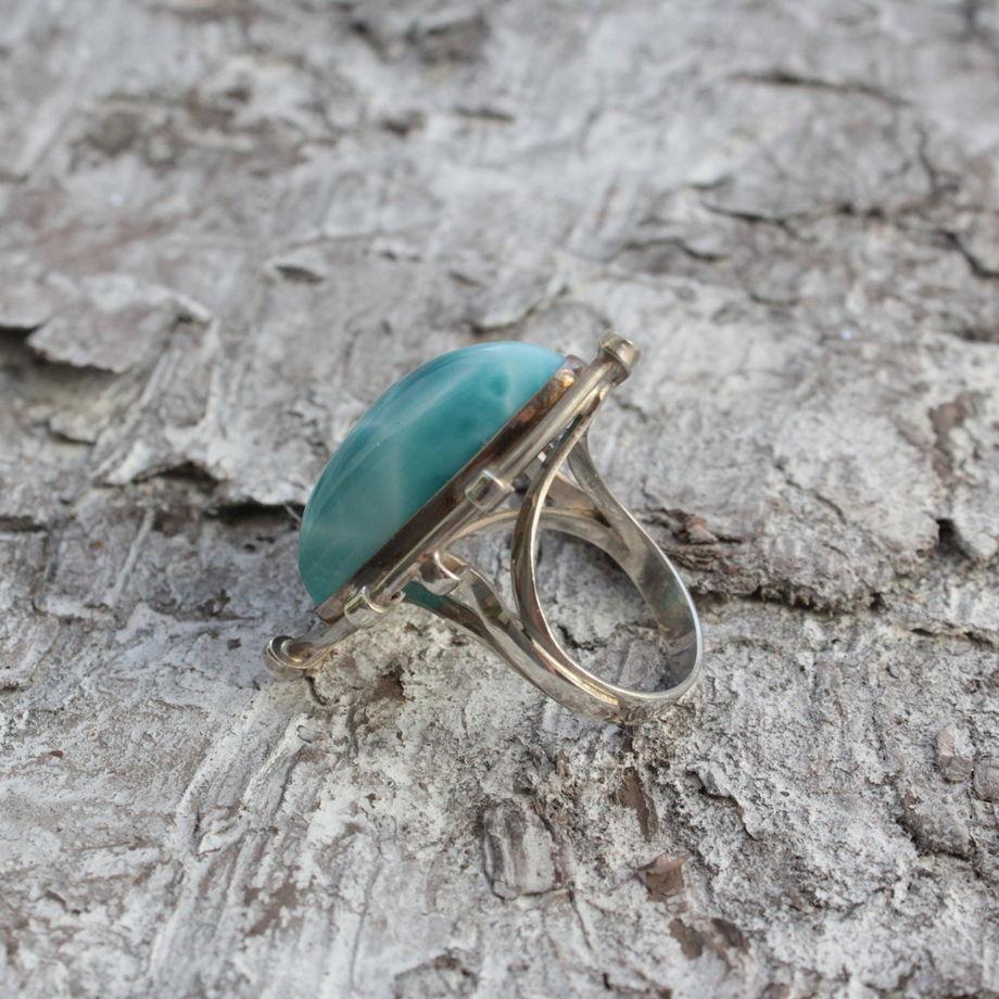"""Серебряное кольцо с ларимаром """"Ариэль"""""""