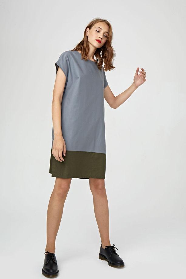 Платье колор блок серо-зелёное