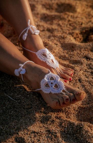 Босые сандали крючком