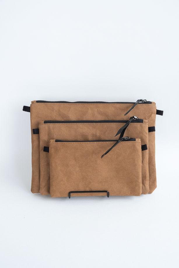 клатч из текстильного крафта, цвет карамель, размер М (16*24 cm)