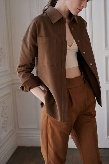 Рубашка-жакет из плотного фактурного хлопка