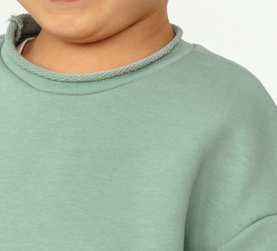 Лонгслив для мальчика футер 3х нитка петля. Цвет полынь