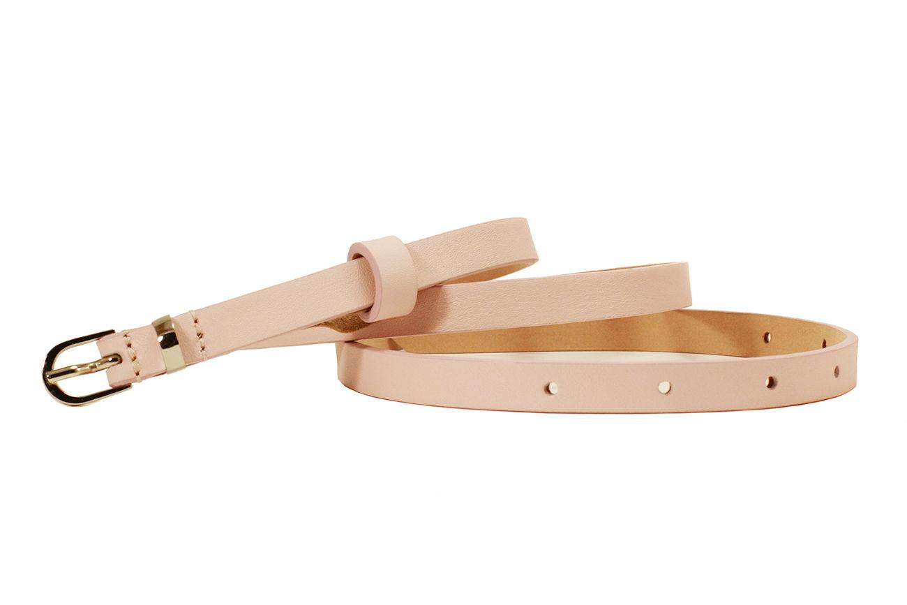 Кожаный узкий ремень розовый