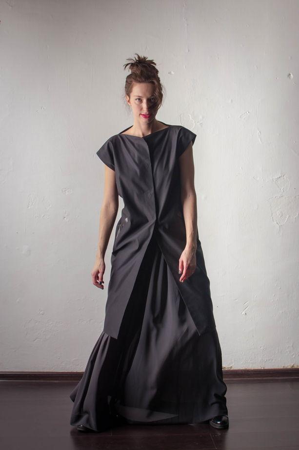 Облегченное пальто-кокон из черного хлопка на подкладке с отделкой из кожи LOBSTER