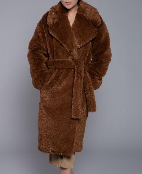 Пальто меховое из стриженной шерсти альпаки коричневое с люрексом
