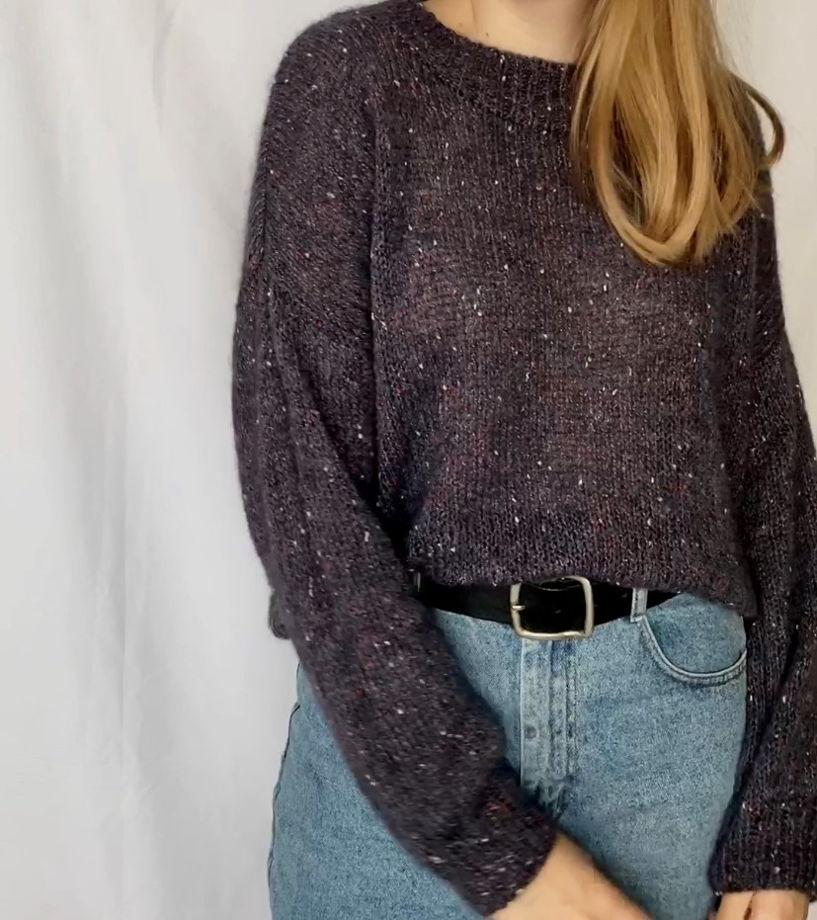 Твидовый свитер синий-джинс
