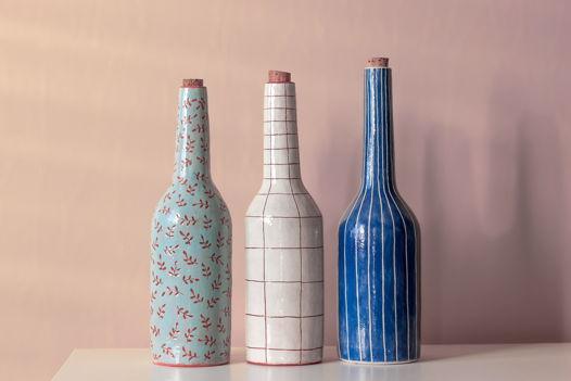 Ваза-бутылка керамическая сграффито