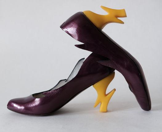 """Фиолетовые туфли с динамическими каблуками """"молния"""". Размер 39.5"""