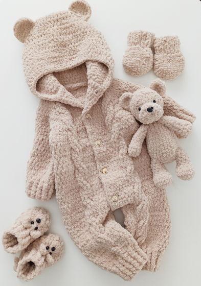 Комплект Мишка Бежевый. Комбинезон, пинетки, рукавички и игрушка.