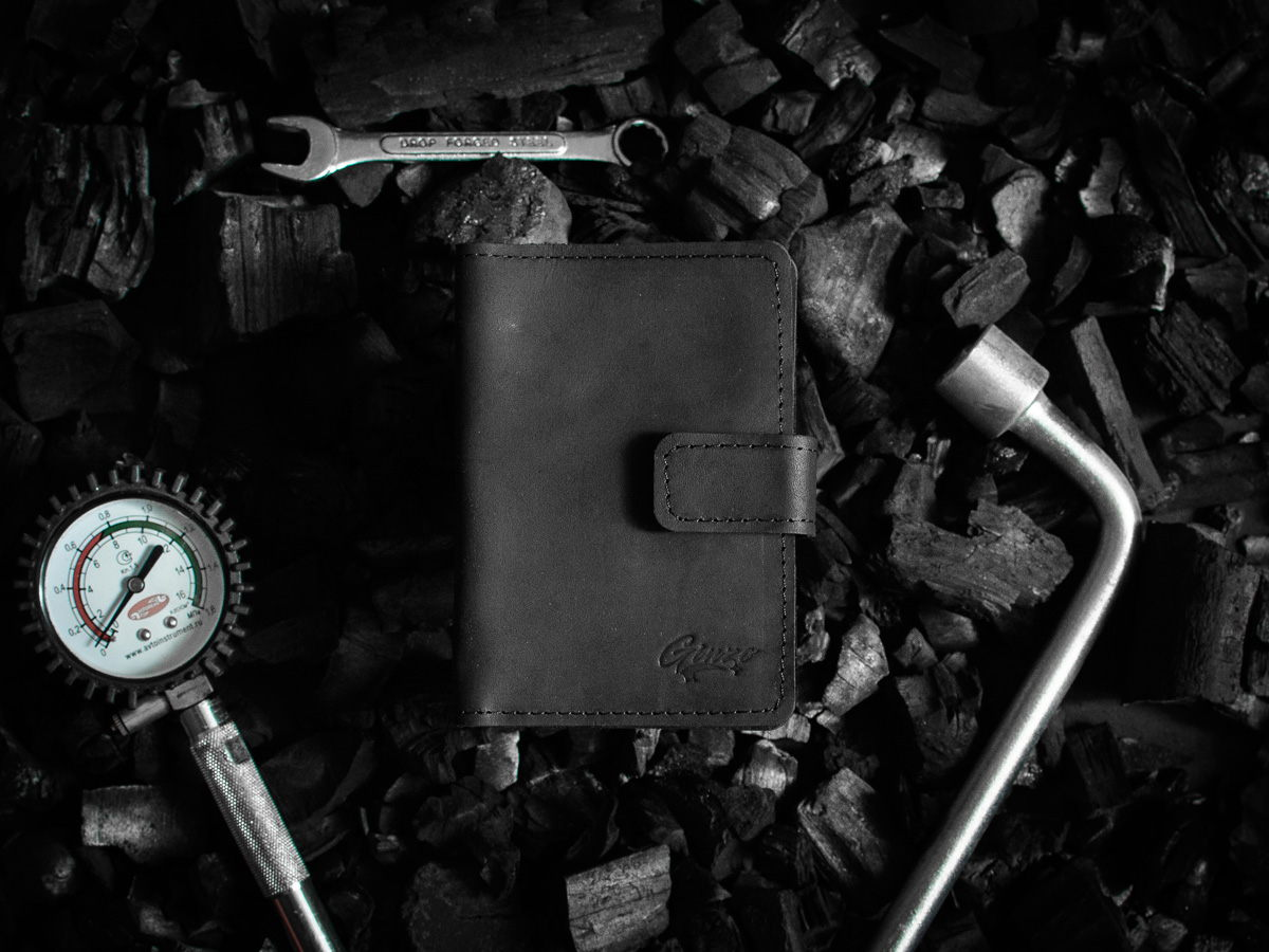 Обложка на автодокументы и паспорт из натуральной кожи -CHASE- цвет Черный Уголь