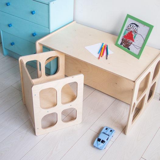 Комплект деревянной детской мебели Монтессори Киддис стол и стул трансформер, цвет натуральное дерево