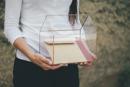 Стеклянный Ящик Домик для Конвертов на Свадьбу или Хранения Мелочей