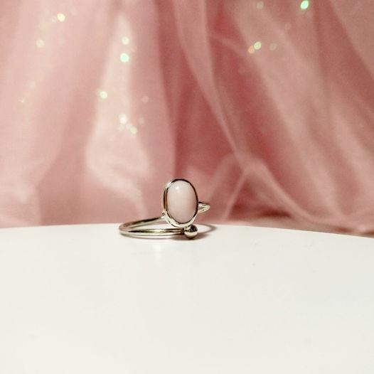 """Кольцо с розовым опалом """"Сладкая вата"""", размеры 15,5 - 18,5"""