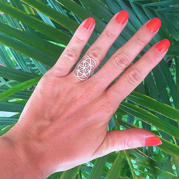 Кольцо «Семя Жизни» из серебра