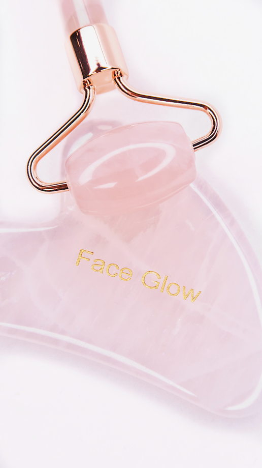 Набор Роллер и Гуа Ша из Розового Кварца Face Glow