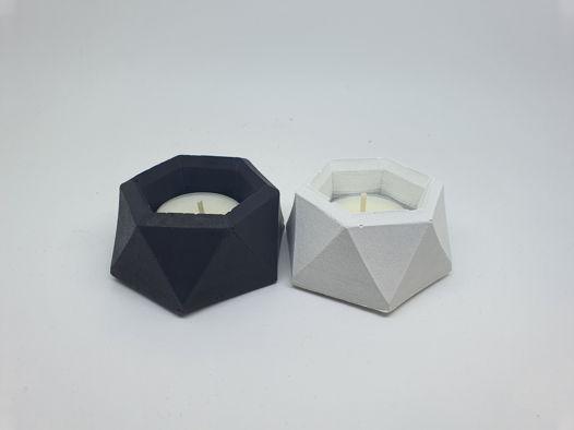 Подсвечник гекса для чайной свечи из бетона