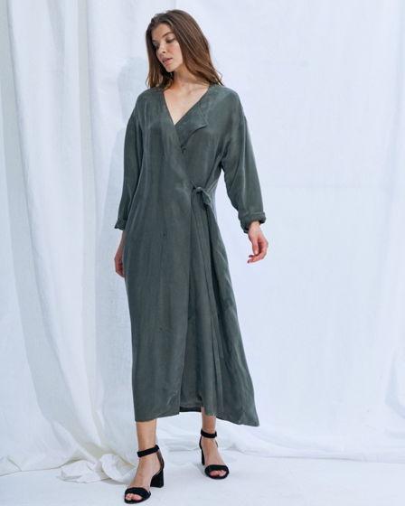 Платье #4 длинное с запахом – зеленое