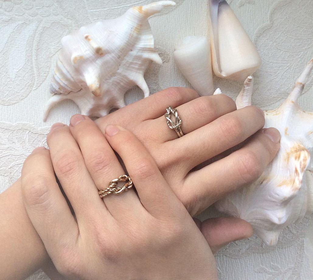 Серебряное кольцо Морской узел