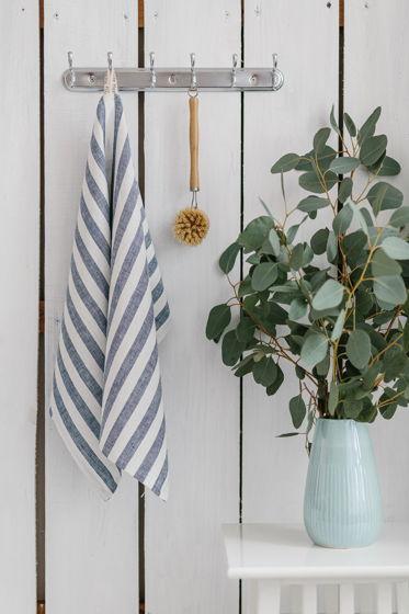 Полотенце для кухни из умягченного льна сине-белая полоска