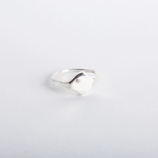 кольцо-печатка Reunion неправильной формы с искусственным бриллиантом