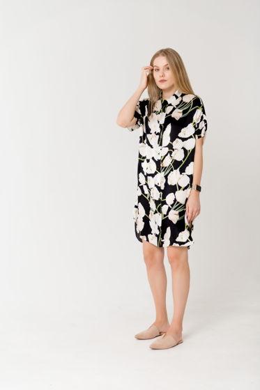 Платье- рубашка из шелка D&G с принтом тюльпаны