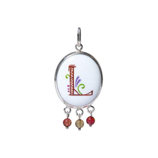 Серебряная подвеска с монограммой L и разноцветными турмалинами
